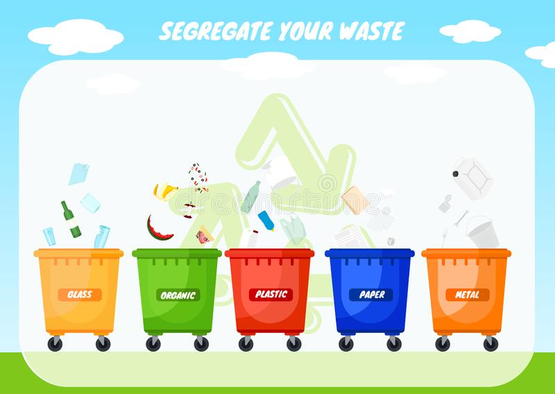 Recycle bins. Colorful recycle plastic bins. Collection of colorful separation recycle bins. Containers for sorting waste. Different colored recycle waste bins stock illustration