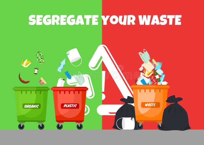 Recycle bins. Colorful recycle plastic bins. Collection of colorful separation recycle bins. Containers for sorting waste. Different colored recycle waste bins royalty free illustration