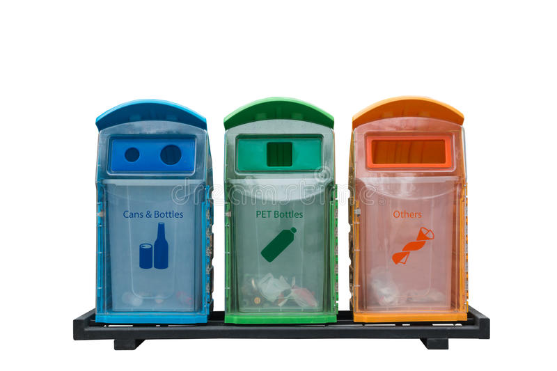 Recycle bins different colored with isolated on white background royalty free stock photography