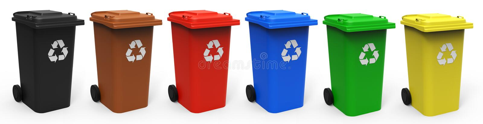 Recycle bins. Different colors recycle bins isolated on white background 3D rendering stock image