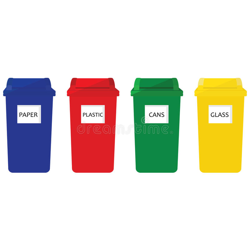 Recycle bins. Four recycle bins icon red, blue, green and yellow. Recycle bins for paper, plastic, cans and glass stock illustration