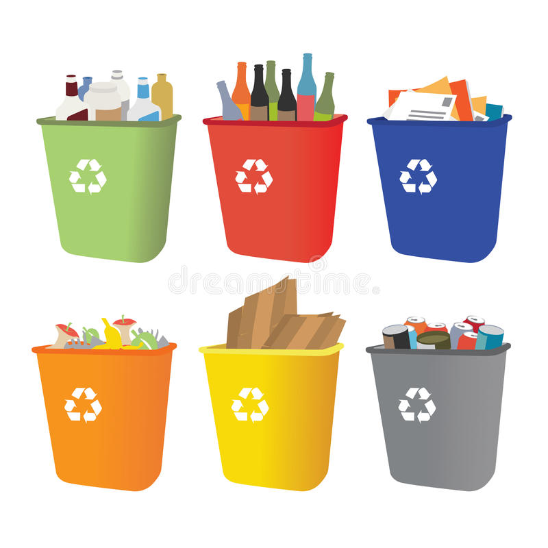 Recycle bins with garbage separation stock illustration