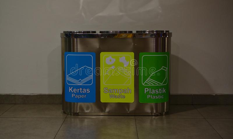 Recycle bins made out of silver colored metal royalty free stock image