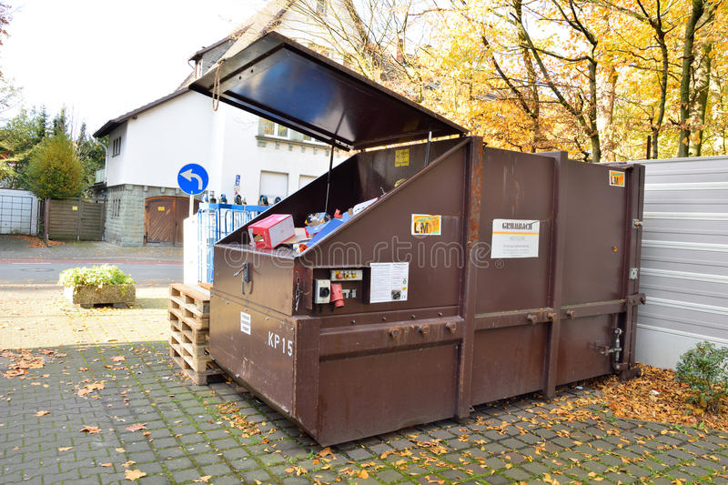 Recycle bins for paper and cardboard boxes wastes. In germany royalty free stock photography