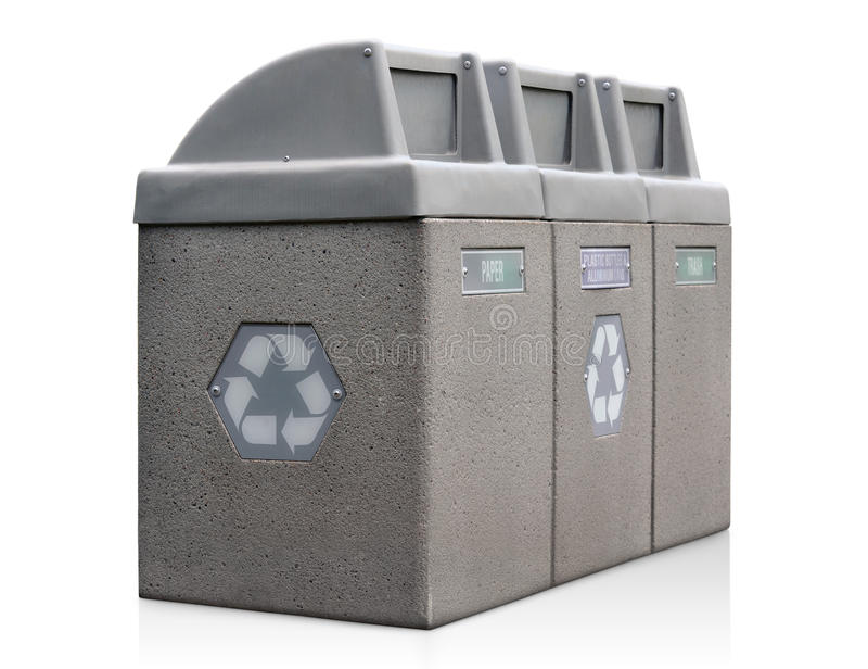 Recycle bins for paper, plastic, cans and trash. Trash bins for recycling paper, plastic bottles, and aluminum cans royalty free stock photos