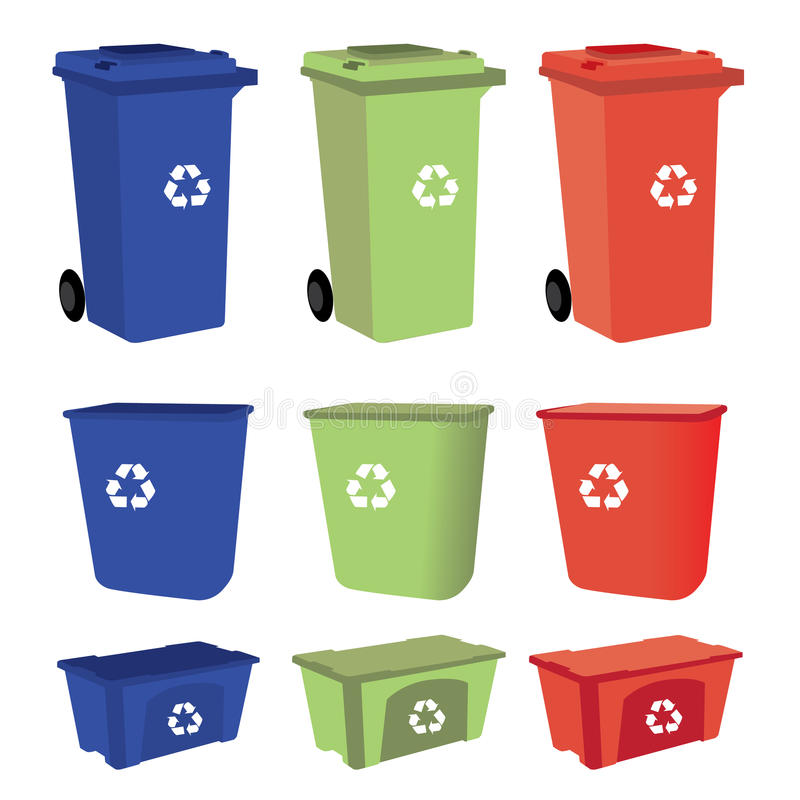 Recycle bins on white background royalty free illustration