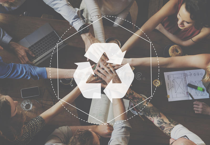 Recycle Biodegradable Solution Empower Graphic Concept stock image
