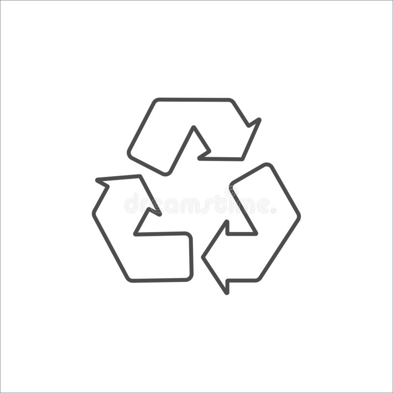 Recycle black icon on white background vector. Illustration royalty free illustration