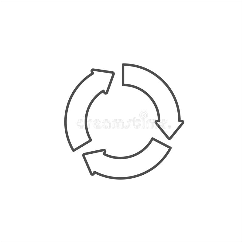Recycle black icon on white background vector. Illustration stock illustration