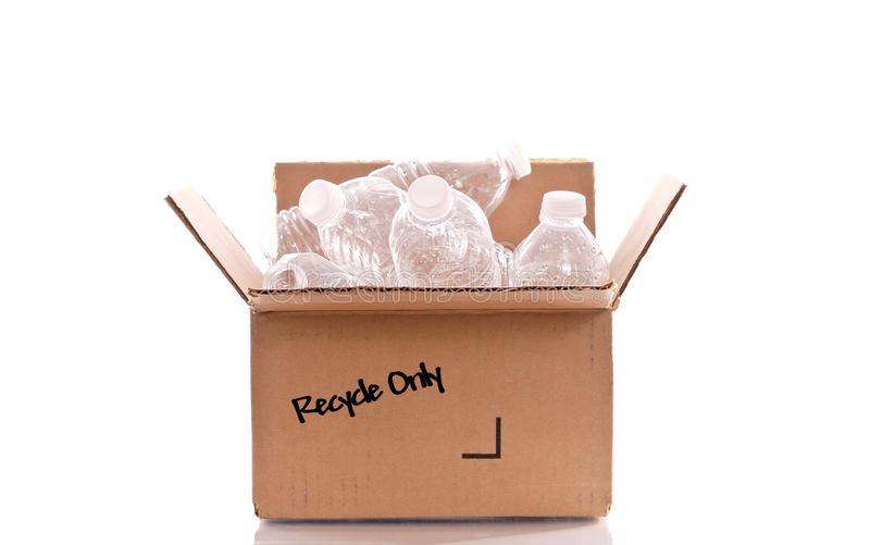 Recycle Only Box. Full Of Plastic Bottles stock image