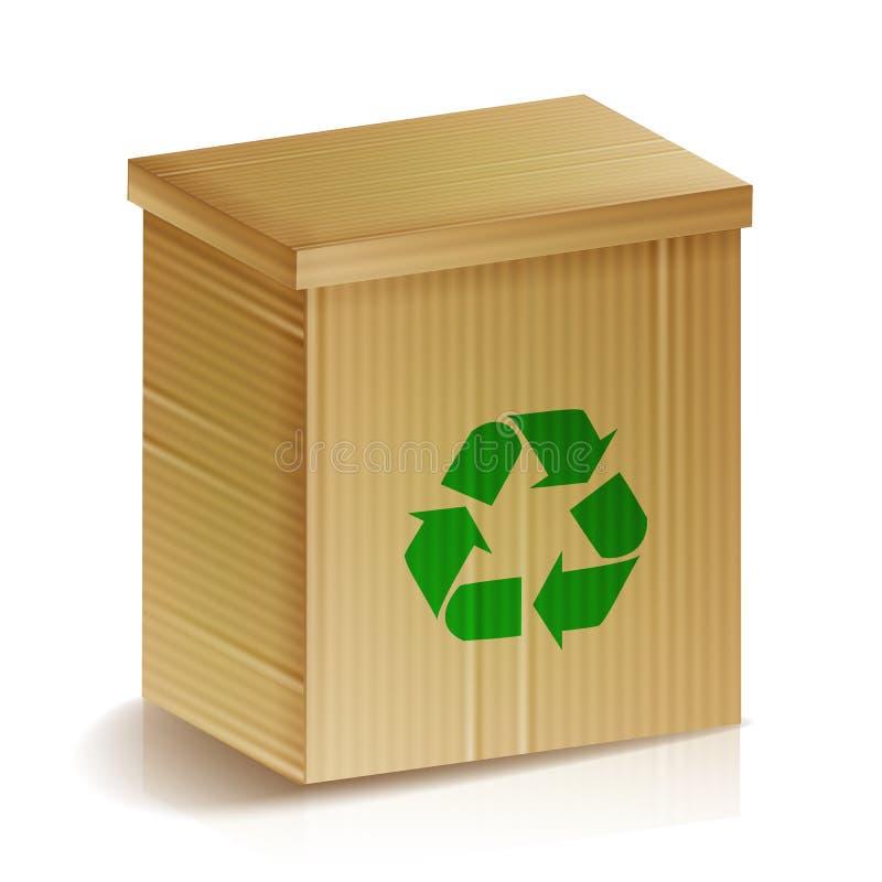 Recycle boxas Realistisk tom Ecologic hantverkpacke återanvänd tecknet Goda för att brännmärka, cornflakes, mysli, sädesslag etc. stock illustrationer
