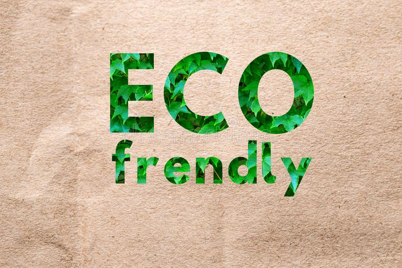 Recycle brown paper crumpled texture, Old paper surface for background. Recycle brown paper crumpled texture Eco Friendly Lettering for package design stock image