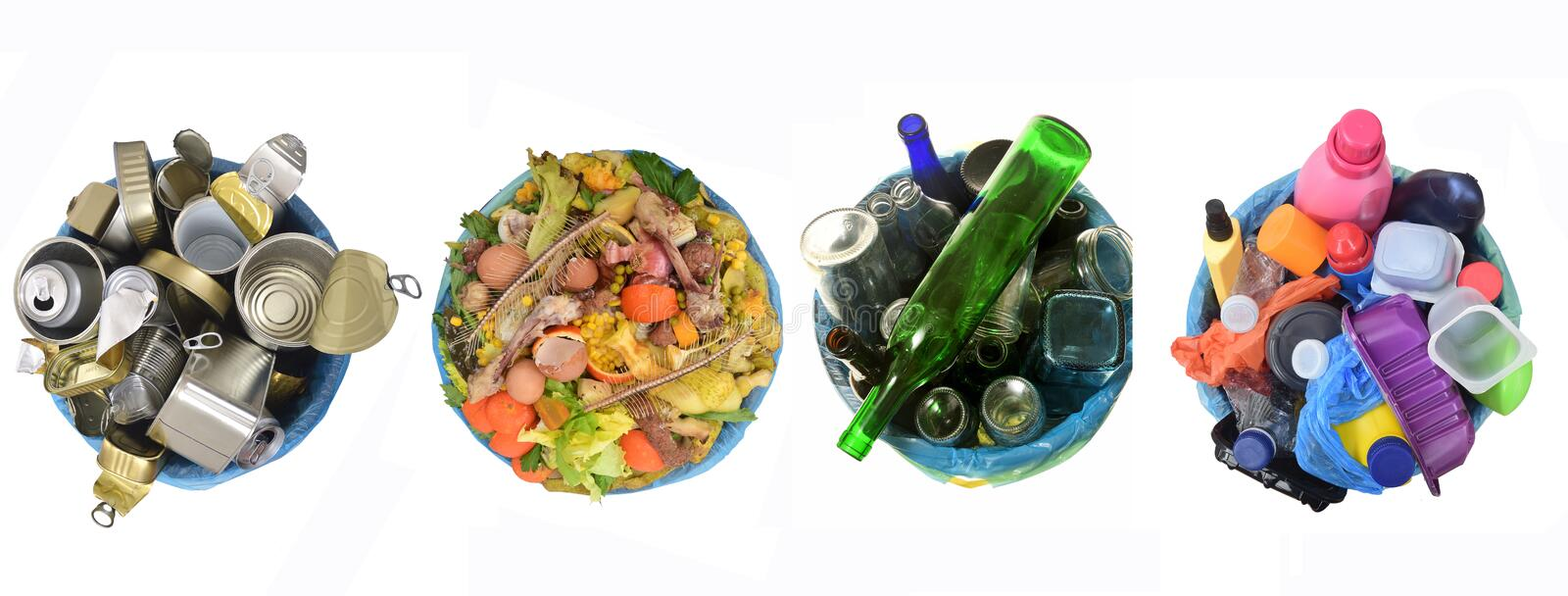 Recycle of cans,compost,glass and plastic royalty free stock image