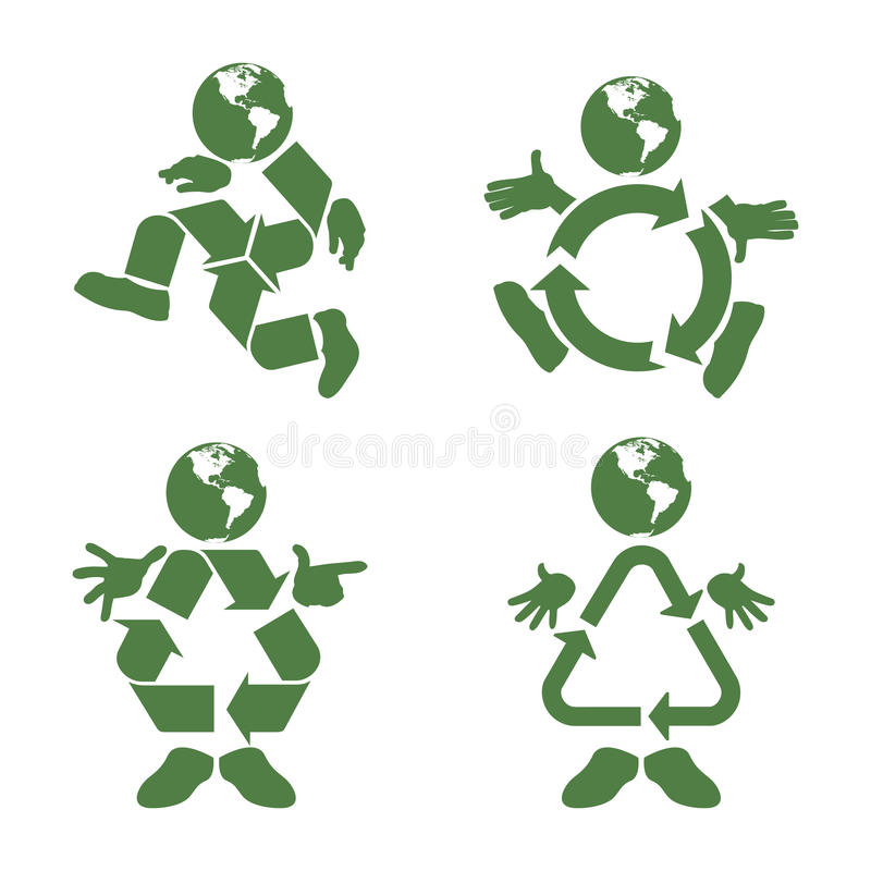Recycle Character. Vector illustration of a green character with a recycle symbol body vector illustration