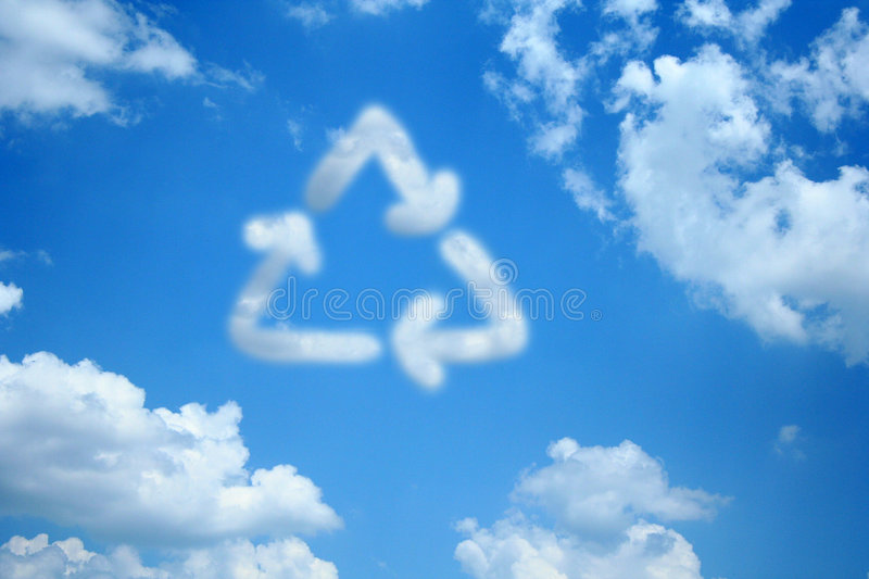 Recycle Cloud. A cloud in the shape of the recycle symbol stands out among the other clouds in the blue sky stock image