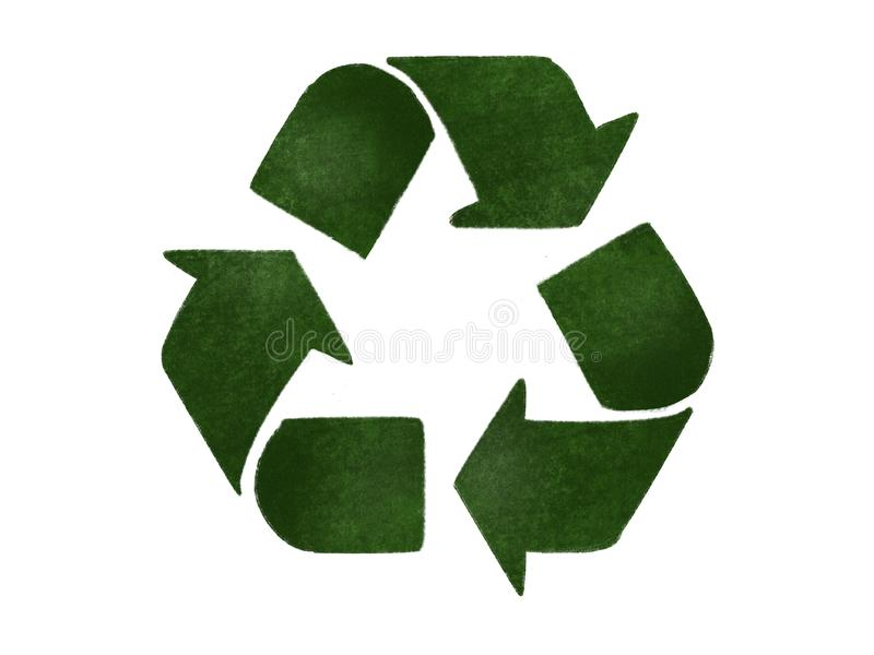 Recycle concept. Green arrows in triangle icon, isolated on white, hand draw illustration. Zero waste concept. Reuse,reduce,. Recycle. Sustainable lifestyle vector illustration
