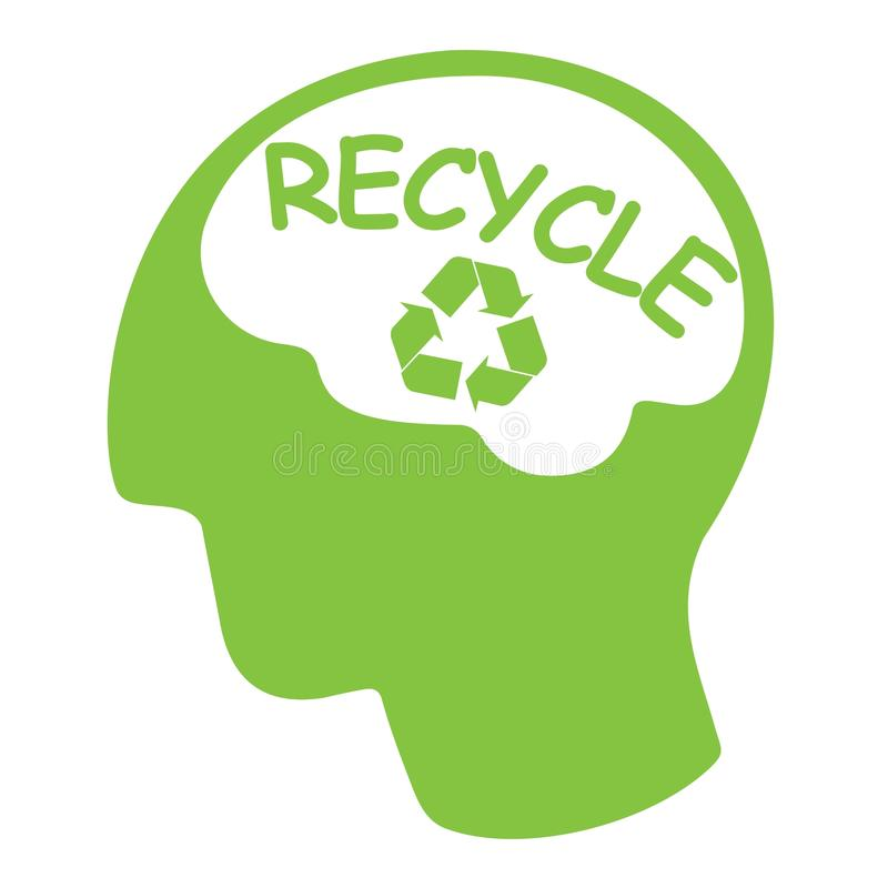 Free Recycle Concept, Green Silhouette Head With Word R Royalty Free Stock Image - 34707886