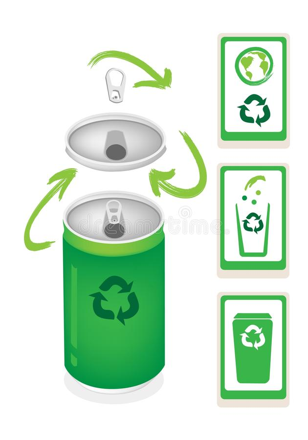 Aluminum Can With Recycle Symbol And Trash Can Stock Vector