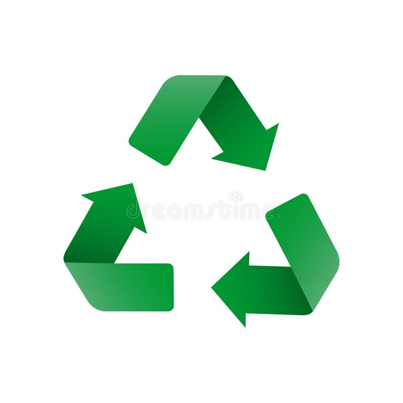 Recycle in 3d style on green background. Recycle icon vector environment symbol. Isolated vector sign symbol. Circle arrow icon. royalty free illustration