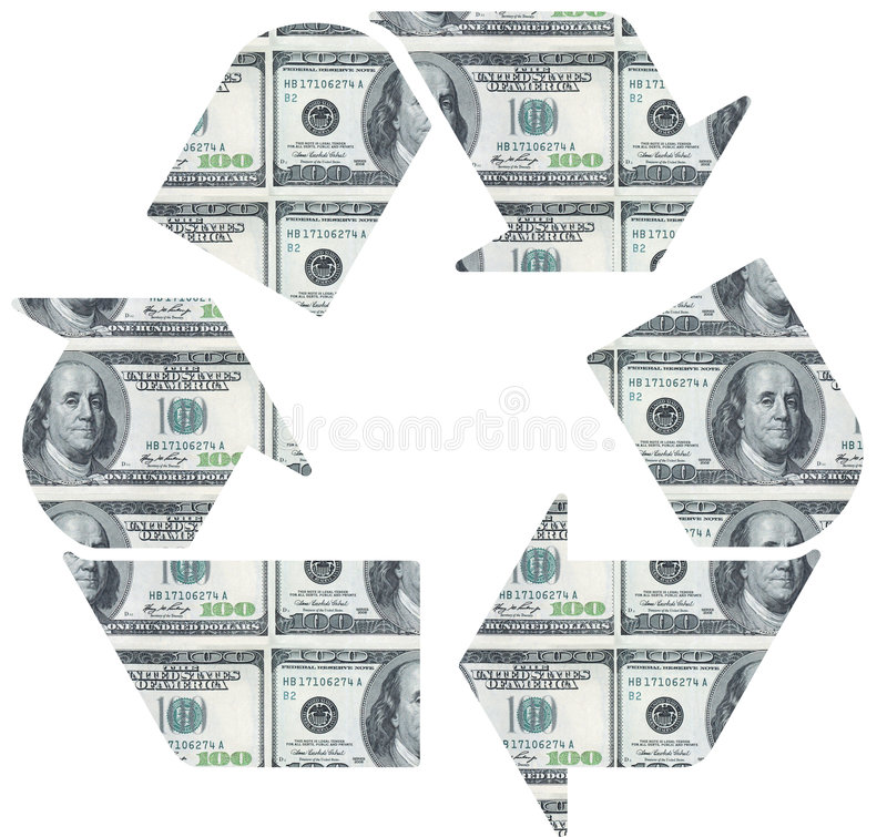 Recycle on dollar bill royalty free stock image