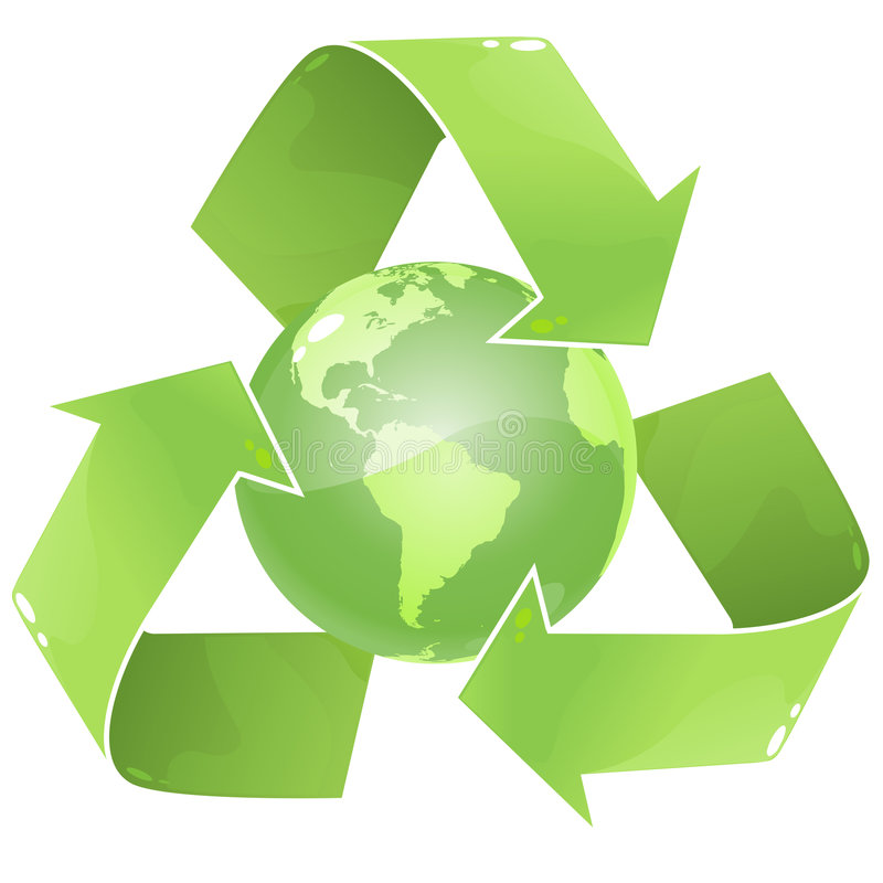 Recycle Earth. Vector clip art of an ecologicaly green, glossy globe, surrounded by the recycle icon royalty free illustration
