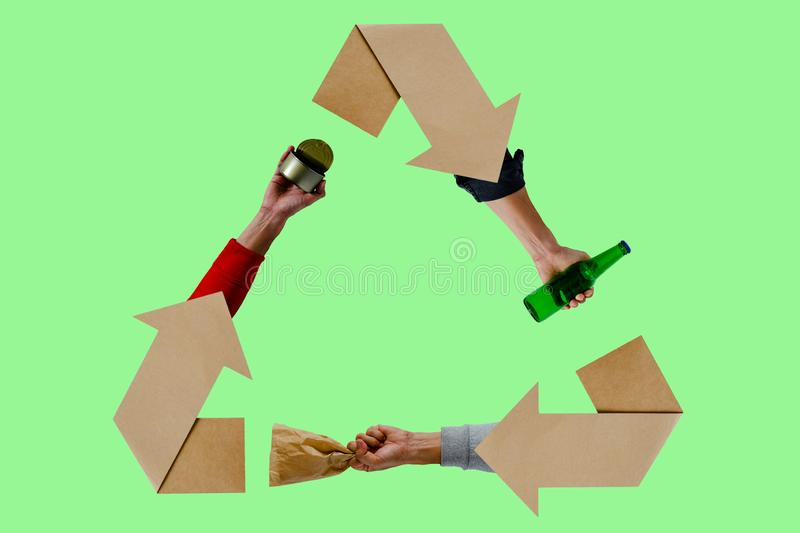 Recycle eco symbol with hand holding materials on green background vector illustration