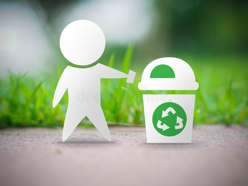 Recycle ecology concept. Recycle bin symbol on blur background, ecology and environment concept, photographic mixed with illustration royalty free illustration