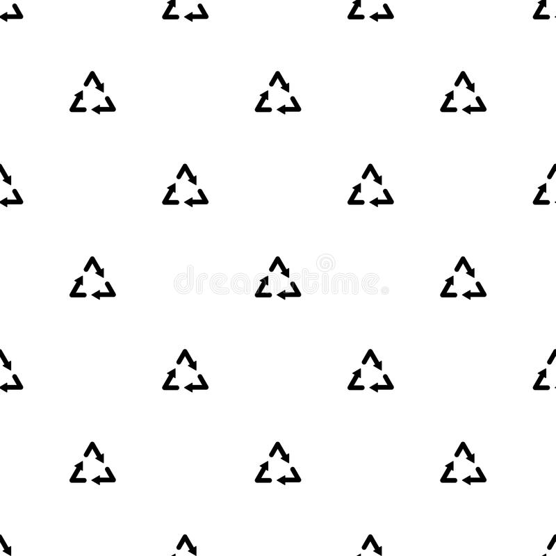 Recycle emblem ecology concept simple black and white seamless pattern, vector royalty free illustration