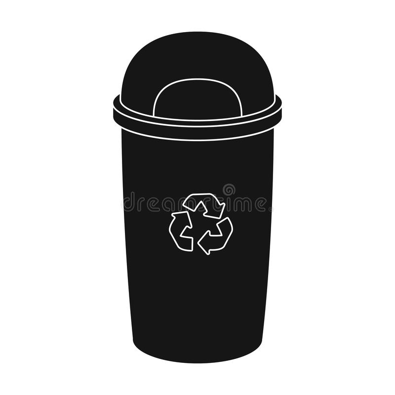 Recycle garbage can icon in black style isolated on white background. Bio and ecology symbol stock vector illustration. royalty free illustration