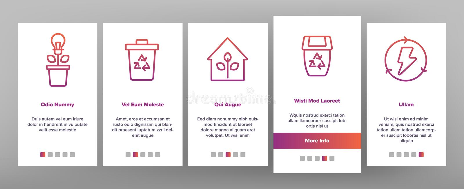 Recycle, Garbage Sorting Vector Onboarding. Mobile App Page Screen. Eco Material Recycle Outline Pack. Zero Waste, Earth Day. Nature, Environment Protection. No vector illustration