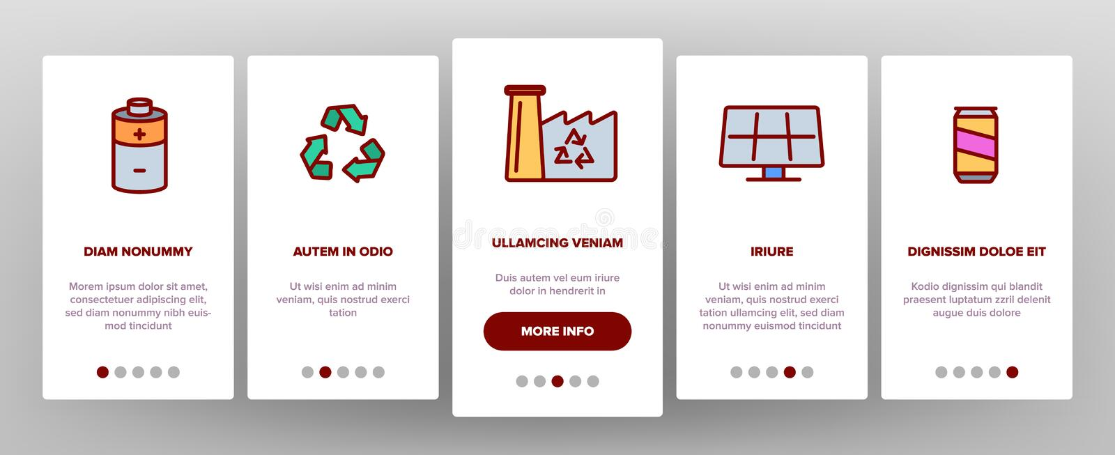 Recycle, Garbage Sorting Vector Onboarding. Mobile App Page Screen. Eco Material Recycle Outline Pack. Zero Waste, Earth Day. Nature, Environment Protection. No stock illustration