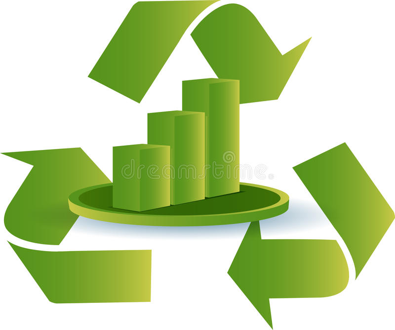 Download Recycle graph stock vector. Illustration of three, green - 14902357