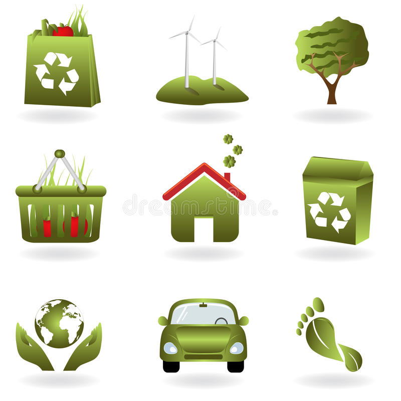 Recycle and green eco symbols stock illustration