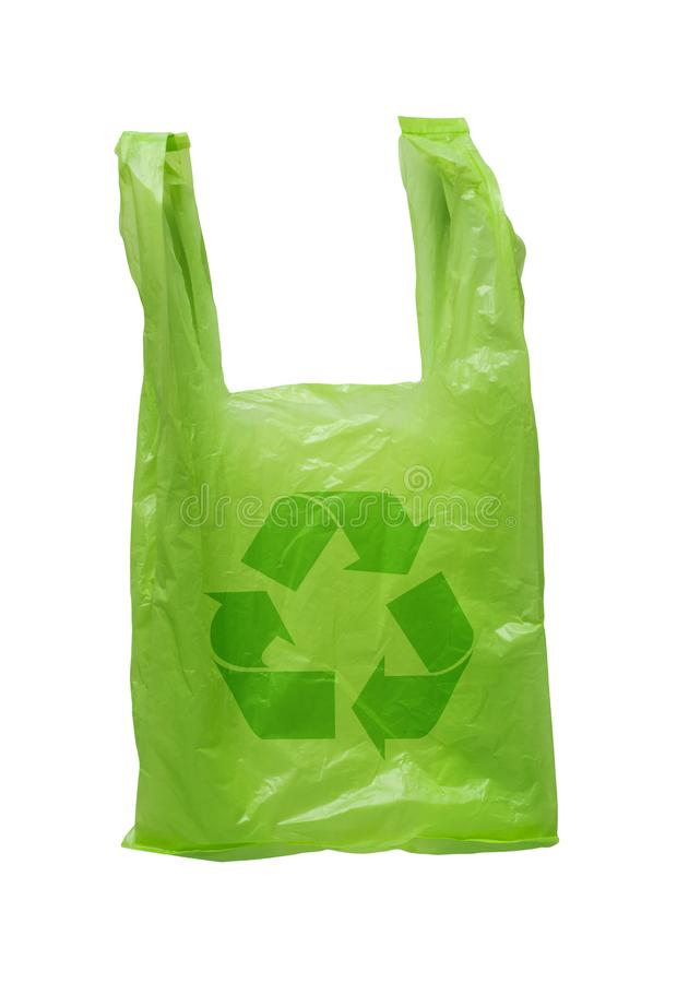 Recycle Green Plastic Bag. Isolate recycle green plastic bag on white background royalty free stock image