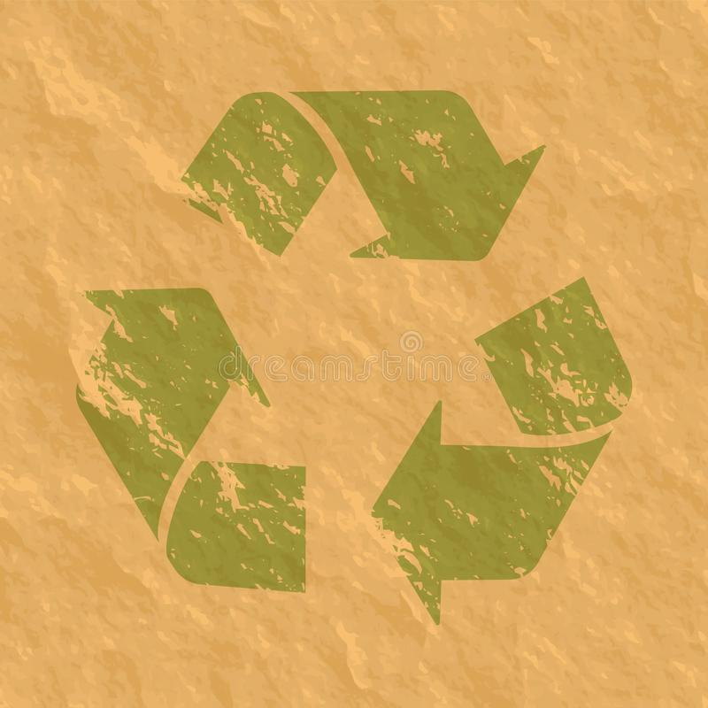 Recycle grunge sign on the craft paper texture vector illustration.  royalty free illustration