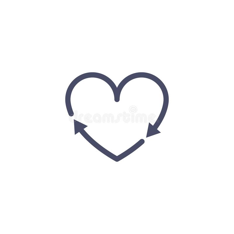 Recycle heart arrow sign. Recycle love icon vector. Heart shape cycle earth enviromental background concept stock illustration