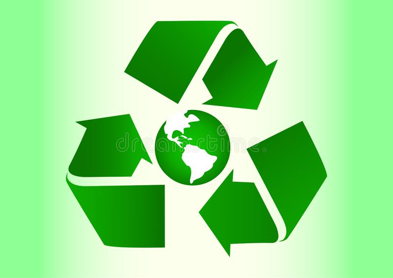 Recycle icon and green world. stock image