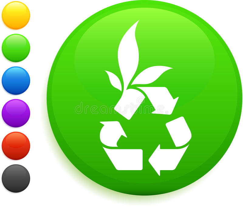 Recycle icon on round internet button stock illustration