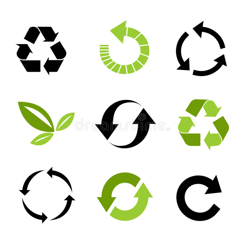 Recycle icon set royalty free illustration