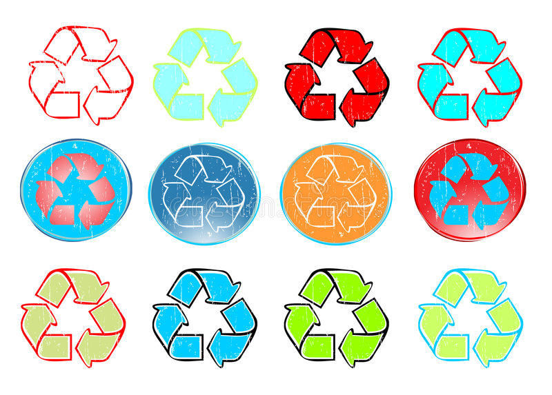 Recycle icon set vector royalty free illustration