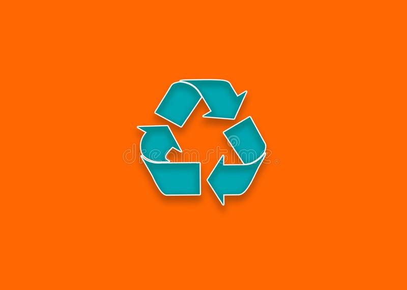 Recycle icon in teal color with orange background. Web design colorful orange and teal. Recycle stock illustration