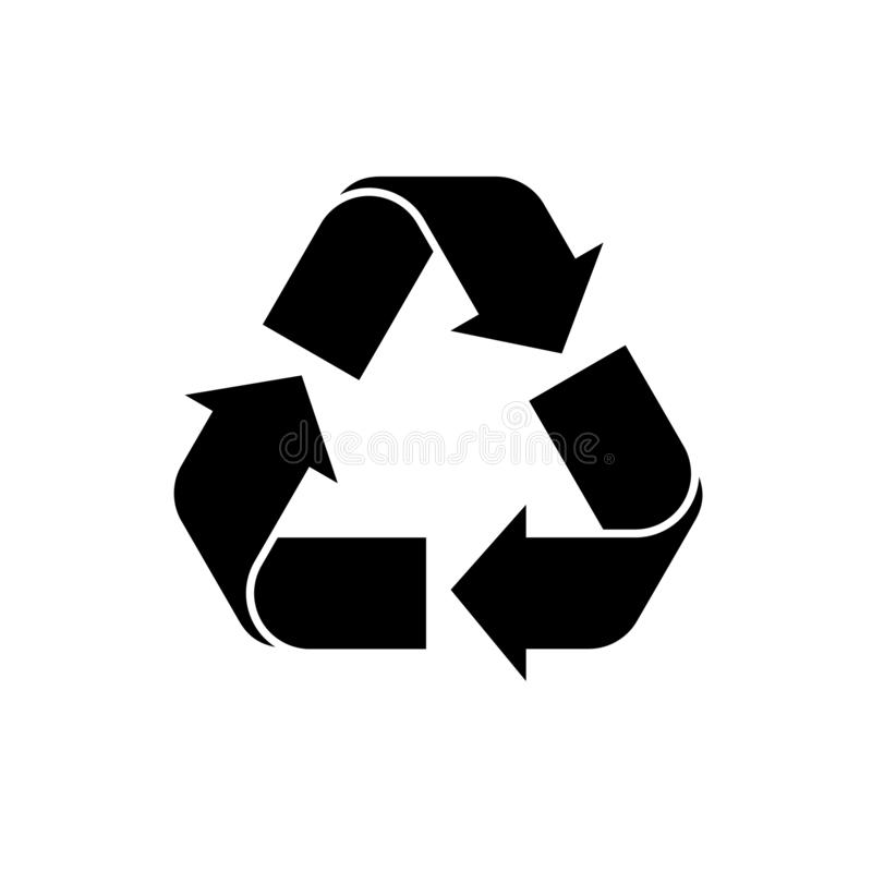 Recycle icon vector. Black recycling symbol. vector icon of recycle on isolated background. Simple recycle logo for web, mobile stock illustration