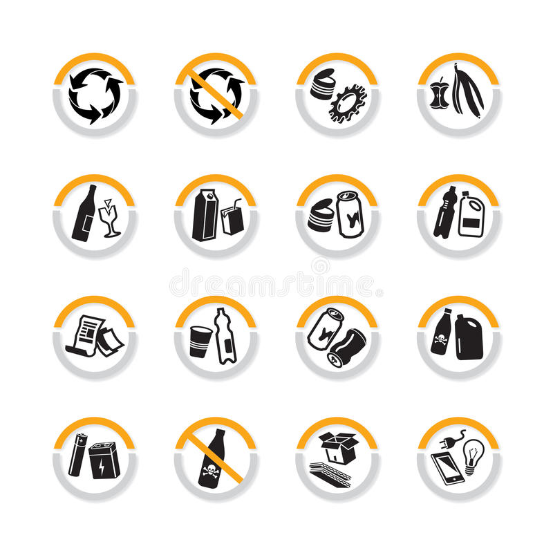 Recycle icons in semicircles. Set of recycle signs in semicircles with shadow stock illustration