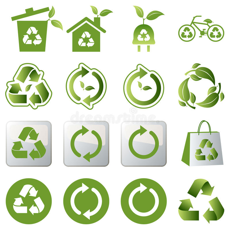Download Recycle icons set stock vector. Image of graphic, color - 14995185