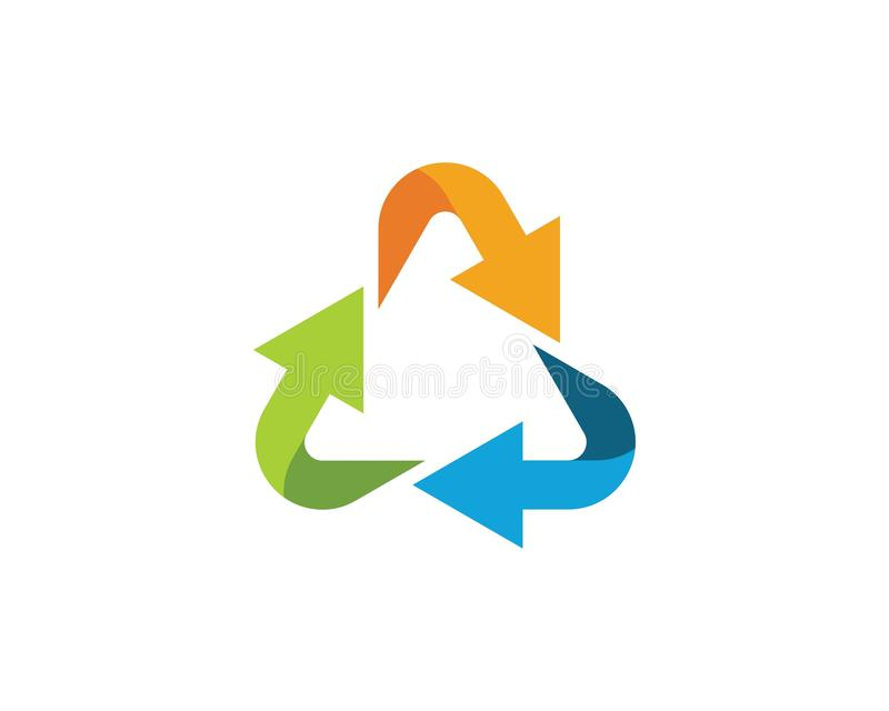 Recycle icons vector illustration. Design template recycling symbol logo white eco isolated recycled ecology environmental ecological reuse conservation waste stock illustration