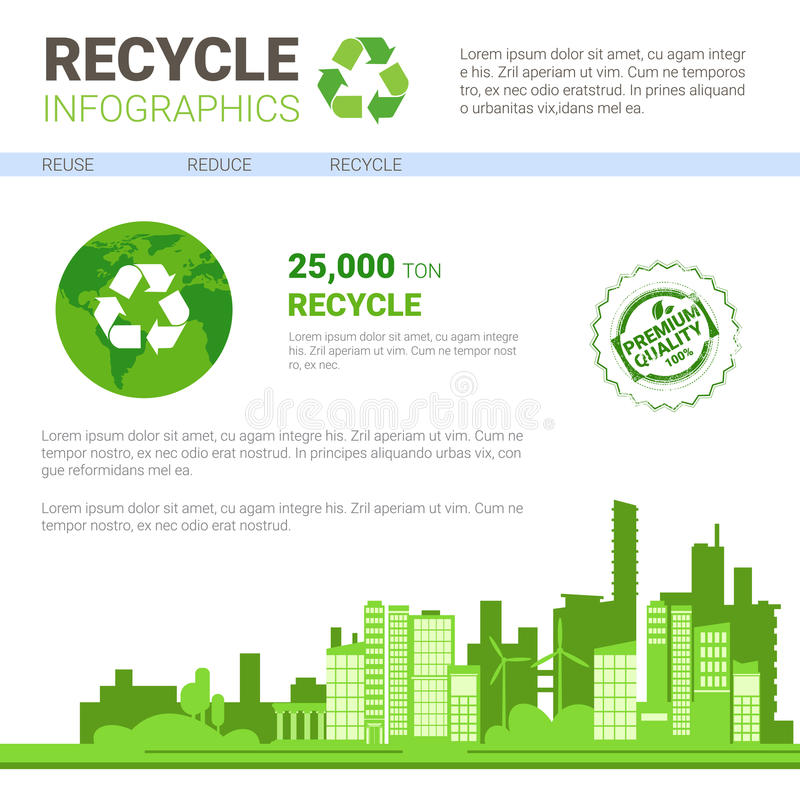 Recycle Infographic Banner Waste Gathering Sorting Garbage Concept. Vector Illustration vector illustration