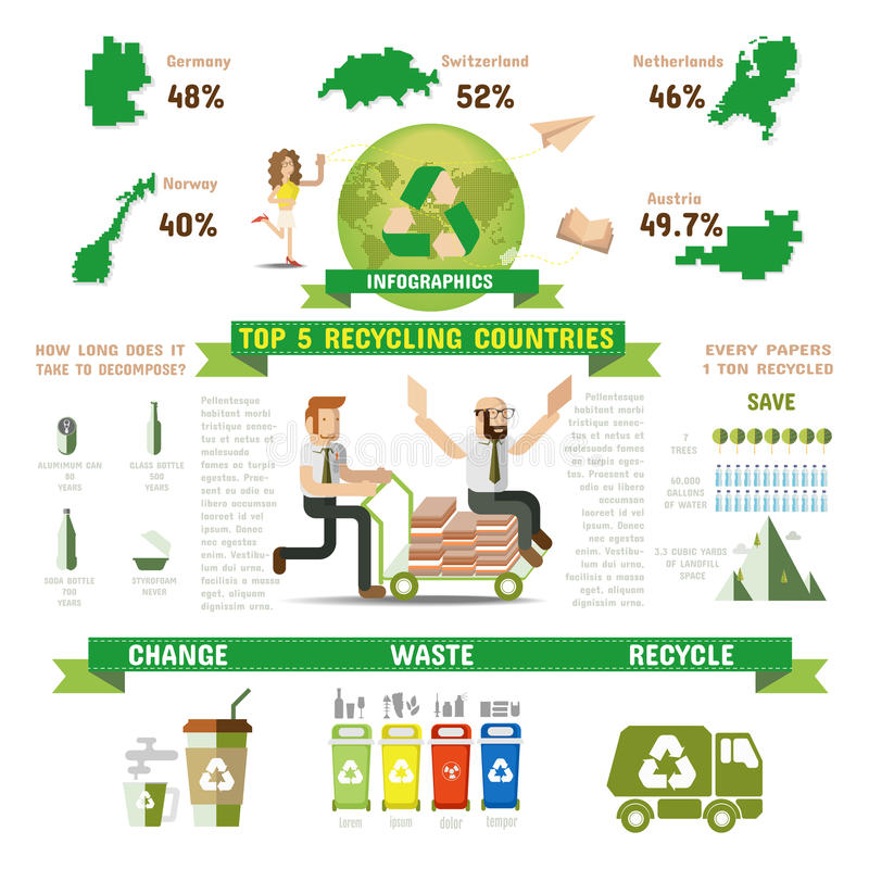 Recycle Infographic, Top five recycling countries. Elements of Recycle Infographic vector illustrations stock illustration