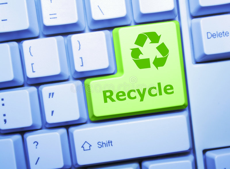 Recycle key. Recycle special green key on a keyboard royalty free stock images