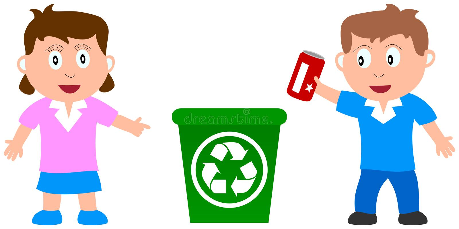 Recycle and Kids vector illustration