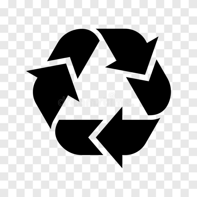 Recycle logo icon. Vector recycled black sign isolated on transparent background. stock illustration